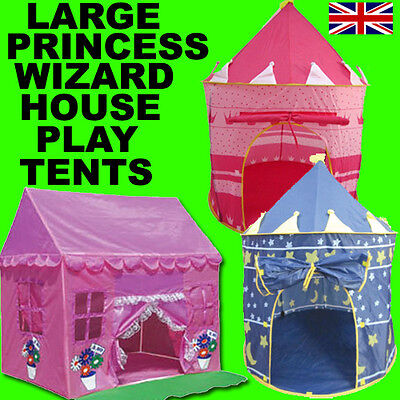 Childrens Boys Girls Pink Princess Castle House Wizard Play Tent Indoor Outdoor