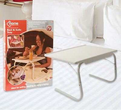 Adjustable Folding Table TV Dinner Coffee Laptop Table Mate Travelling Tray Desk