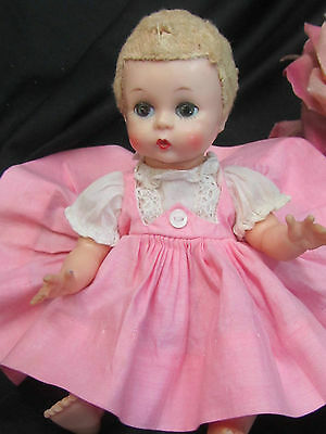 VINTAGE 1957 Madame ALEXANDER doll LITTLE GENIUS curacul wig TAGGED dress 7""