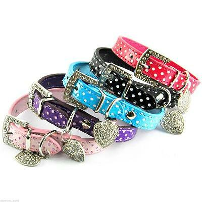 Polka Dot Leather Pet Dog Puppy Pooch Cat Puppies Collar Heart Diamnte Charm