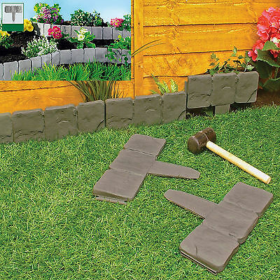 Garden Lawn Edging Cobble Stone Plastic Plant Border 8ft 2.4m Fencing Hammer In