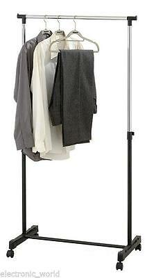 Adjustable Tidy Clothes Coat Garment Hanging Rail Rack Storage Stand Castors