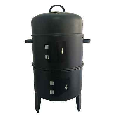 Black BBQ Charcoal Smoking Grill Barbecue Smoker Garden Outdoor Cooking Smoke