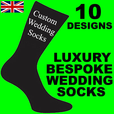 Black Mens Bespoke Custom Luxury Woven Wedding Role Socks 10 Styles Adult Sock
