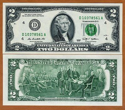 USA, $2, 2009, P-New, D (Cleveland, OH) UNC