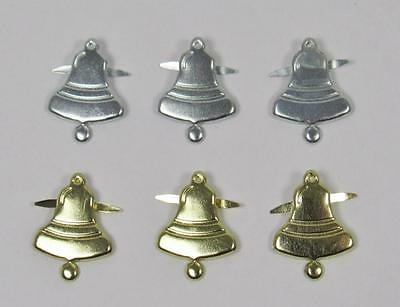 BRADS BELLS pk of 6 christmas bell wedding scrapbooking craft split pin