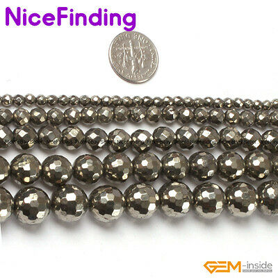 """Natural Round Faceted Pyrite Stone Beads For Jewellery Making 15"""" Free Shipping"""