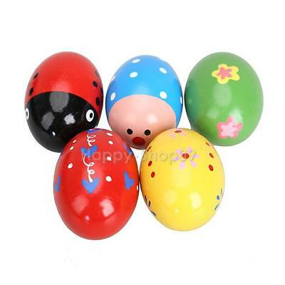 5pcs Wooden Egg Baby Kids Toy Music Shaker Instrument Percussion Rattle Maracas