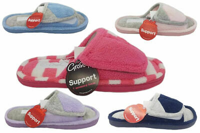 Ladies Slippers Grosby Invisible Support Slide Adjustable Colours Soft Size 5-11