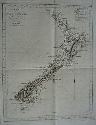 New Zealand,original antique chart,Cook's Voyages,Dutch, 1778