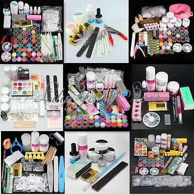 Pro Acrylic Powder Liquid Glitter Clipper Primer File Nail Art Tips Full Set Kit