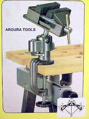 Vice 360 Degree Adjustable Angles With Bench Mounting Clamp - New .