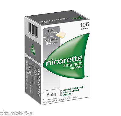 Nicorette 2mg Original Gum For Relief of Cravings and Nicotine Withdrawal 105