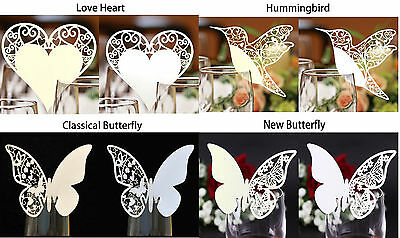 1-100PCS Wedding Party Glass Place Name Cards. Laser Cut Luxury Pearlescent Card