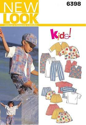 New Look Sewing Pattern Kids Jacket Vest Top Skirt Pants Shorts Size 2 - 7 6398