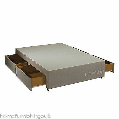 New - 6FT Super King Fawn or Charcoal Divan Bed Base + Free 4 Storage Drawers