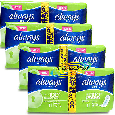 4x 30 Always Ultra Normal Sanitary Towels Pads Without Wings
