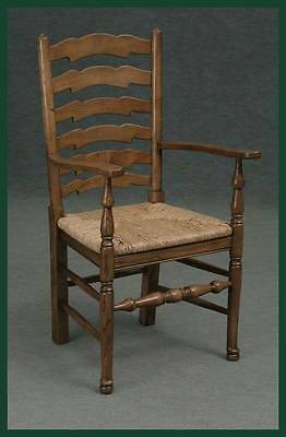 Solid Oak Pad Foot Ladder Back Dining Carver Chair Kitchen Carver Chair