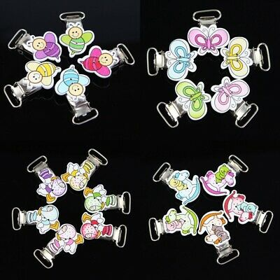 10 PCs Funny Infant Baby Wooden Pacifier Holders Suspender Clips Dummy Nipples