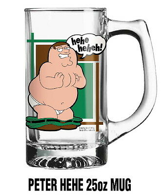 The Family Guy, Naked Peter Laughing Large 25 oz Illustrated Glass Mug Stein NEW