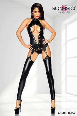 Sexy Straps Outfit Wetlook Strapsset Ketten Ösen Lack Leder Look Cut Body Set