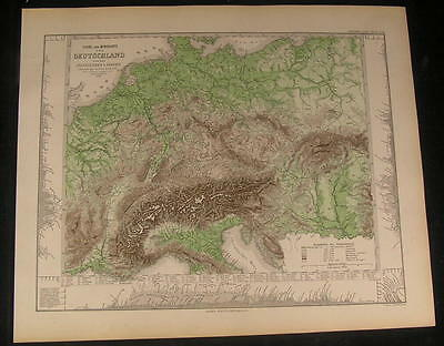 River & Mountains of Germany Alps Surroundings 1873 old engraved hand color map