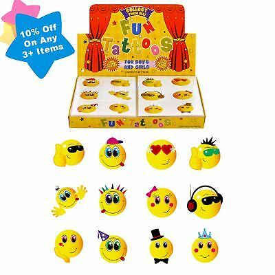 72 Smiley Face Temporary Tattoos Birthday Party Loot Bag Toy Fillers For Kids