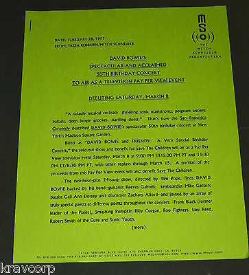David Bowie '50Th Birthday Concert' 1997 Press Release
