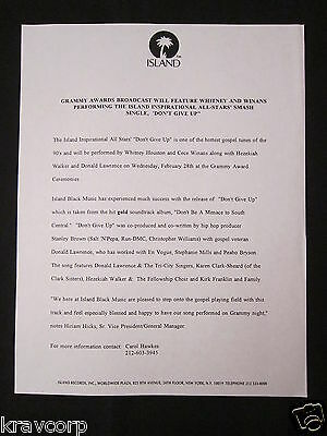 Whitney Houston 'Don'T Give Up' 1996 Press Release