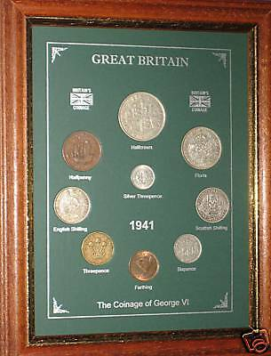 FRAMED 1941 COIN YEAR SET (RETRO 76th BIRTHDAY PRESENT WEDDING ANNIVERSARY GIFT)