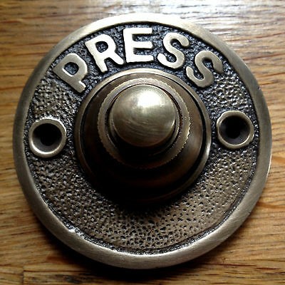 New - Antique Shabby Chic Retro Vintage Brass Push Door Bell Press Salvage Aged