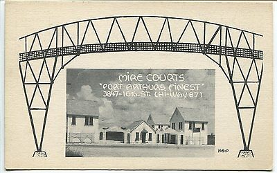 PORT ARTHUR, TX VINTAGE POSTCARD Mire Courts & Bridge Drawing