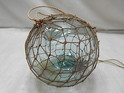 "Glass Fishing Float 7"" in FINE ROPE NET Vintage Japanese Nautical Maritime"