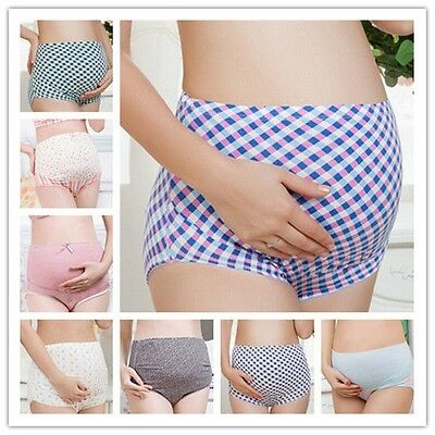 100%Cotton Maternity Pregnant Women Underwear Panties High-Waist Briefs L-XXL