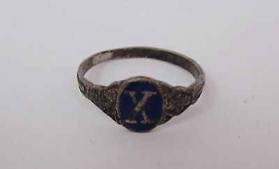 Antique Wwii Royal Bulgarian Military Silver Award Ring For X Ten Years Service
