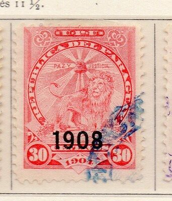 Paraguay 1908 Early Issue Fine Used 30c. Optd 169796