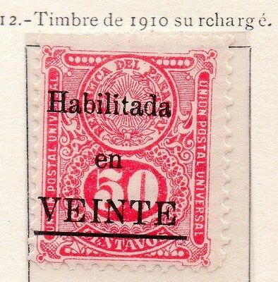 Paraguay 1912 Early Issue Fine Used 50c. Optd Surcharged 169820