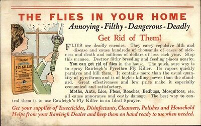 Fly Killer Insecticide Pesticide in Home Rawleigh's Fly Killer c1920s Postcard