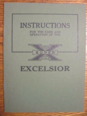 1925 1926 Excelsior Super X Motorcycle Instruction Owner's Manual