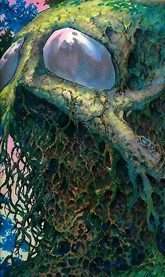 """Bernie Wrightson ORIGINAL SWAMP THING ART ZOMBIE PAINTING 12 x 18"""" for FPG Card"""