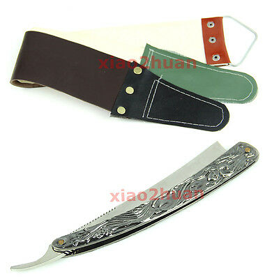 "Stainless Steel Barber Straight Shaving Razor Shaver Strop cloth +""Sweeney Todd"""