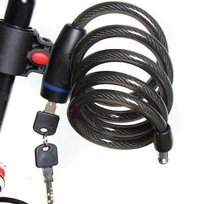 Key Locker Bike Cycling Bicycle Trolly Motor Security Steel Wire Cable Lock 1M