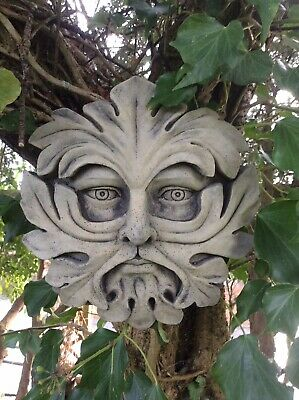 Stone Garden Green Man Face Leaf Wall Plaque / Tile Ornament