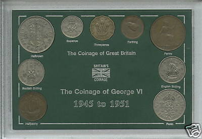 1945-1951 King George VI Second Type Great Britain Coin Gift Set in Display Case