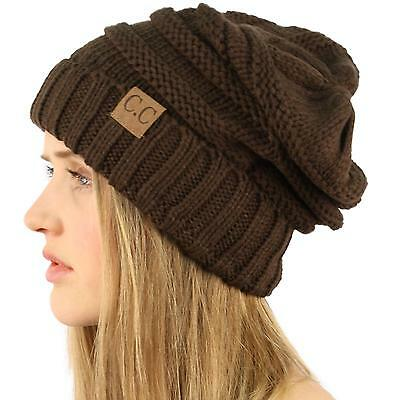 Oversized Chunky Thick Soft Stretch Knit Slouch Beanie Skull Ski Hat Cap Brown