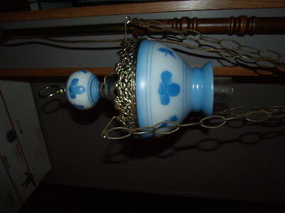 Vintage  milk glass Blue FLowers hanging Swag chimney and gone with wind