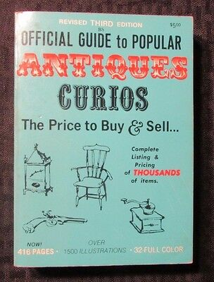 1971 Official Price Guide To Popular ANTIQUES Curios 3rd Ed. FN+ Full Color