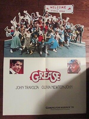 1977 GREASE Movie 11x15 Promo Fold-Out Die-Cut POSTER VG/FN JohnTravolta
