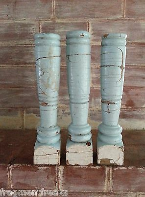 Three(3) RECLAIMED Wood Candlesticks SHABBY Candle Holders Blue White Vintage A3