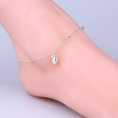 New 925 Sterling Silver Plated Anklet Foot Chain Soles Anklet Barefoot Bracelet*